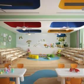 现代幼儿园教室活动室 3D模型【ID:940830691】