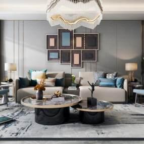 现代客厅沙发茶几组合3D模型【ID:643343721】