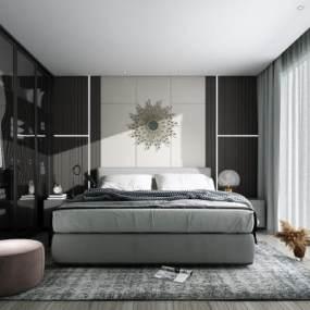 现代卧室3D模型【ID:550937263】