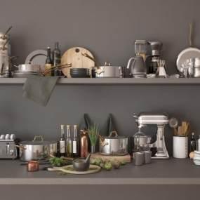 现代厨房用品3D模型【ID:248144863】