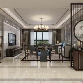 新中式客厅3D模型【ID:536026060】