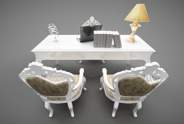歐式風格書桌3D模型【ID:847450801】