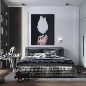 现代风格卧室3D模型【ID:553460228】