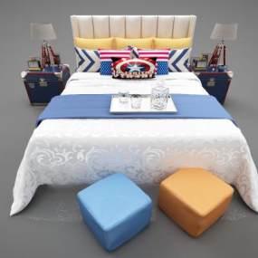 現代風格兒童床3D模型【ID:852601705】