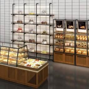 现代面包糕点甜品店展台展架3D模型【ID:130934855】