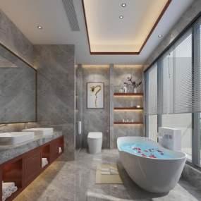 现代卫生间浴室3D模型【ID:533677538】