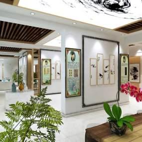 新中式书画展厅3D模型【ID:930968670】