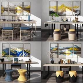 新中式实木泡茶桌椅组合3D模型【ID:833965921】