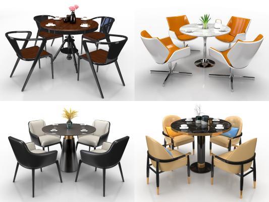 现代圆形洽谈餐桌椅组合3D模型【ID:743299170】