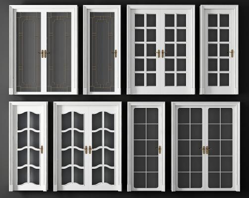 现代白色玻璃单开 双开门组合