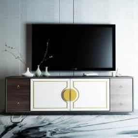 新中式电视柜3D模型【ID:934536906】
