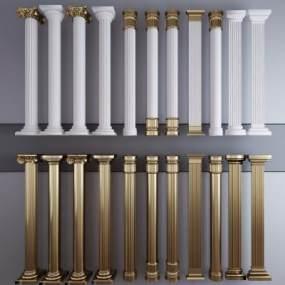 欧式描金柱子柱头组合3D模型【ID:353350474】