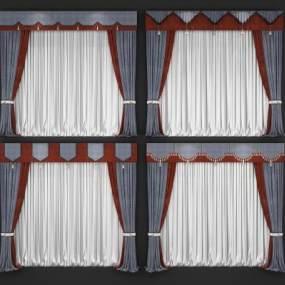 新中式窗帘组合3D模型【ID:233109682】