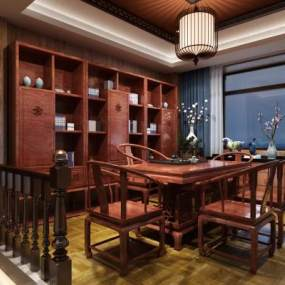 中式茶室茶桌椅茶柜组合 3D模型【ID:641382109】