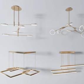 现代吊灯组合3D模型【ID:730464856】