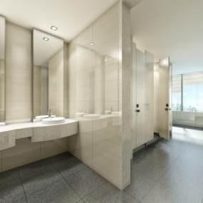 现代简约公共厕所卫生间3D模型【ID:932979908】