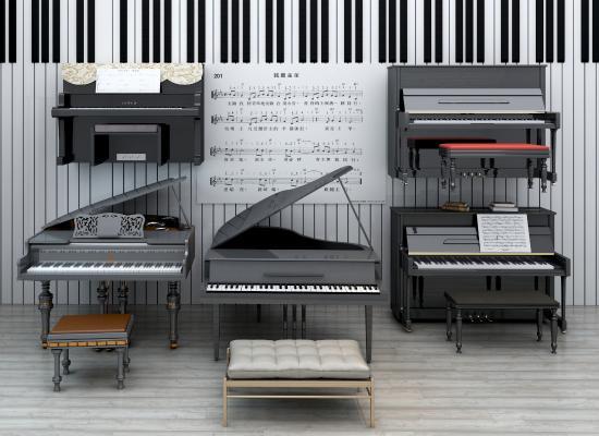 現代鋼琴組合3D模型【ID:330558986】