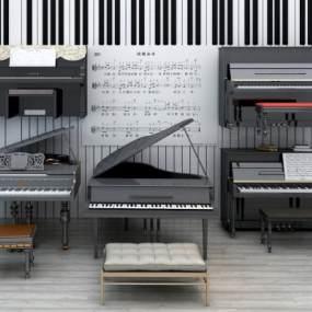 现代钢琴组合3D模型【ID:330558986】