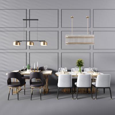現代餐桌椅吊燈組合3D模型【ID:730496178】