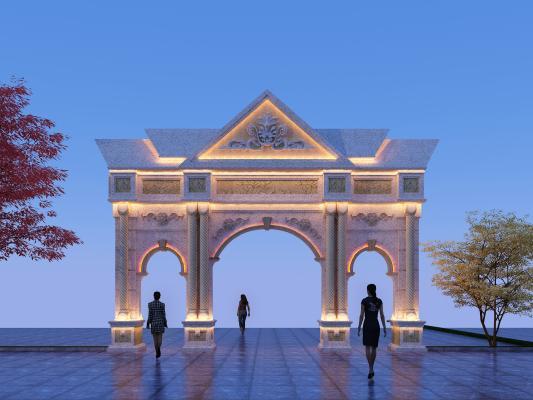 東南亞風格牌坊3D模型【ID:146178992】