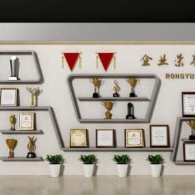 现代奖杯奖牌证书展厅3D模型【ID:245629704】