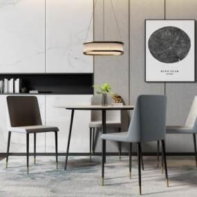 现代圆桌椅吊灯组合3D模型【ID:844530867】