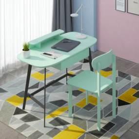 北欧电脑台式桌子3D模型【ID:944393018】