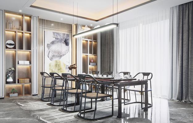 新中式茶室3D模型【ID:652805195】
