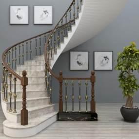 欧式旋转楼梯3D模型【ID:332672536】