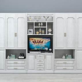 欧式实木衣柜3D模型【ID:130592492】