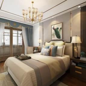 新中式卧室3D模型【ID:553364223】