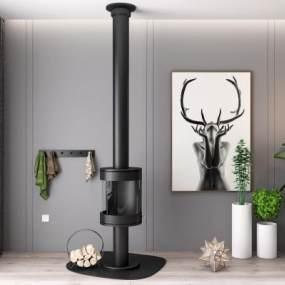 现代壁炉暖炉绿植挂画组合3D模型【ID:335396611】