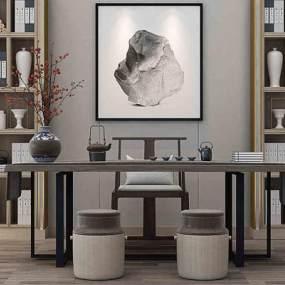 新中式书桌椅3D模型【ID:536233423】