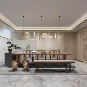 新中式茶室 3D模型【ID:641761167】