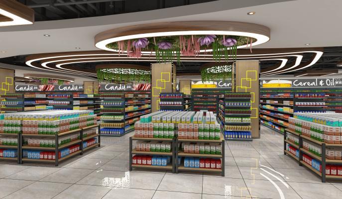 现代超市3D模型【ID:130874104】