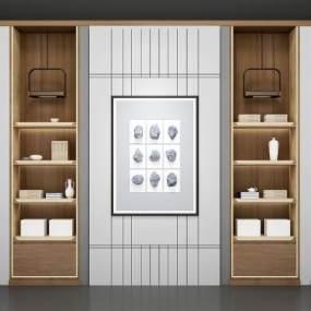 新中式书架背景墙3D模型【ID:131775585】