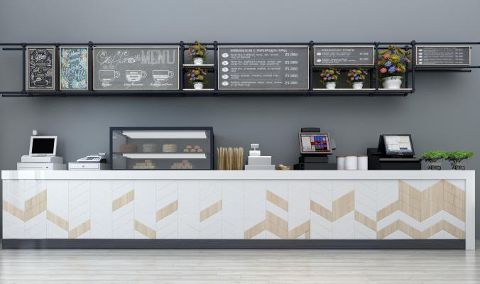 現代收銀機收銀柜收銀臺咖啡機飲料機裝飾架組合3D模型【ID:430538059】