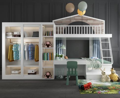 現代兒童上下床衣柜書桌椅玩具擺件組合3D模型【ID:840693836】
