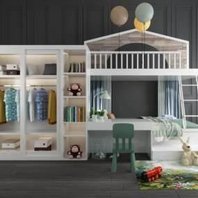 现代儿童上下床衣柜书桌椅玩具摆件组合 3D模型【ID:840693836】