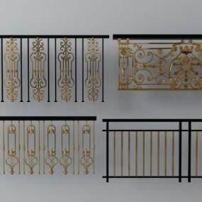 欧式简约楼梯栏杆扶手3D模型【ID:335476550】