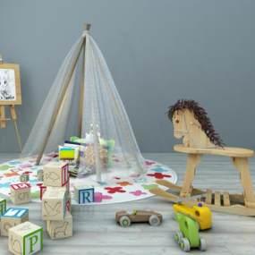 现代儿童玩具木马积木画板架蚊帐组合3D模型【ID:330556495】