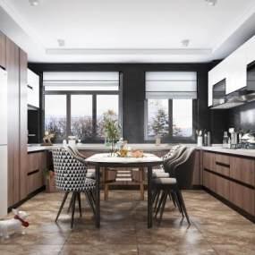 现代风格开放式厨房3D模型【ID:540680387】
