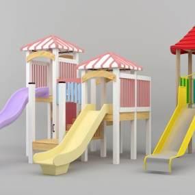 现代儿童滑梯模型组合3D模型【ID:830952757】