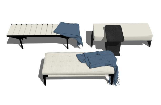 现代沙发凳组合SU模型【ID:847650556】