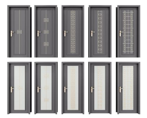 新中式房門衛生間門組合3D模型【ID:346935187】