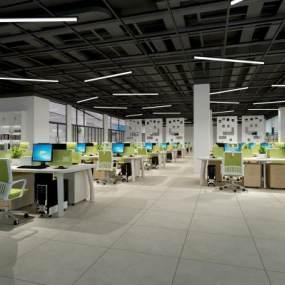 现代工业风办公室3D模型【ID:947342060】