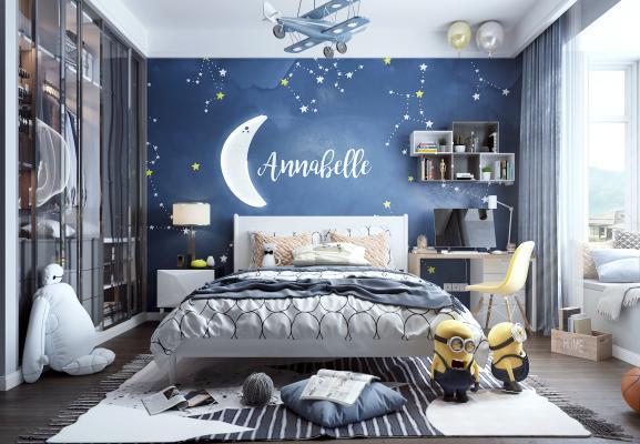 现代风格儿童房 衣柜 床