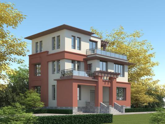 現代獨棟別墅3D模型【ID:150278301】