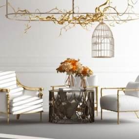 现代单人沙发茶几吊灯组合3D模型【ID:635943447】
