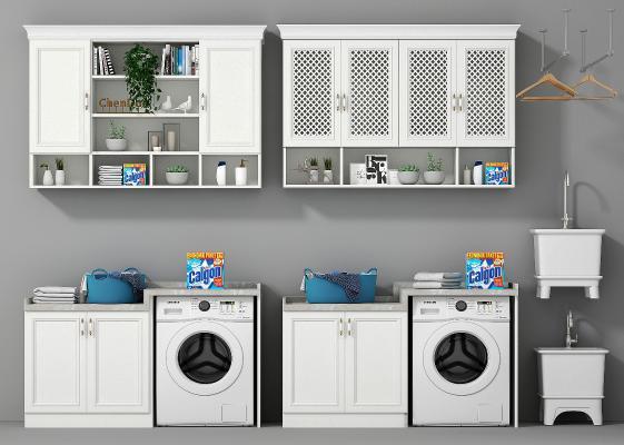 现代卫浴橱柜洗衣机拖布池组合